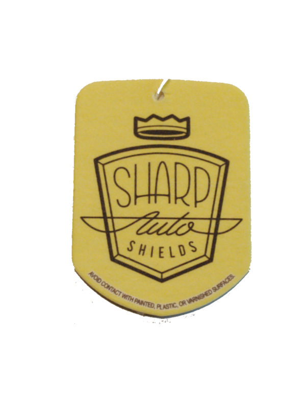 yellow sharp auto shields car air freshener